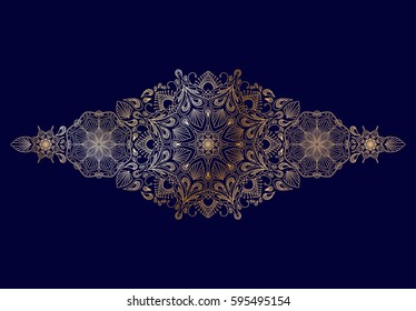 Decorative golden floral mandala border element on blue background