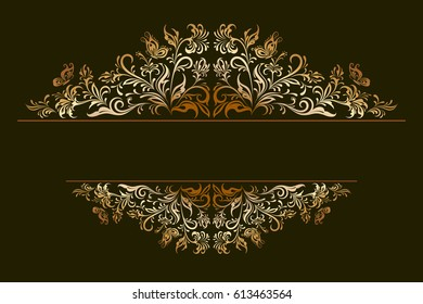 Decorative Golden Frame with Vintage Ornament, Floral Pattern, Flowers and Butterflies Silhouettes on Black Background.