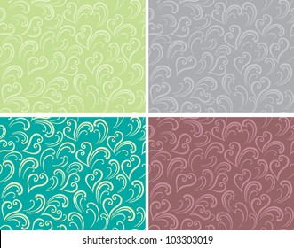 Decorative graphic spring curly seamless background patterns