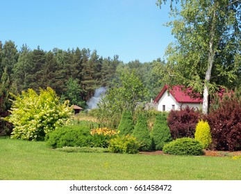 Decorative greenery of country house from lawn flower bed plants and trees