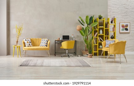 Decorative grey stone wall living room, home interior concept with yellow sofa chair and bookshelf, big green vase of plant carpet.