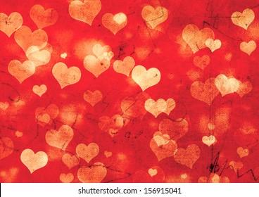 Decorative grunge valentine background with hearts
