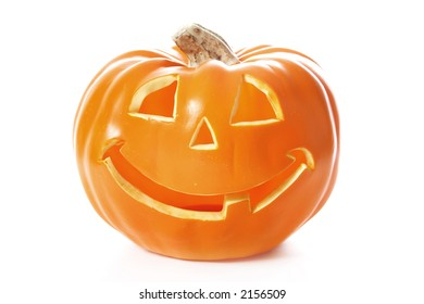 A decorative halloween pumpkin isolated on white
