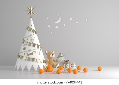 Decorative handicraft Christmas tree with gift boxes and oranges, 3d rendering. Christmas and New Year background with holiday decoration.