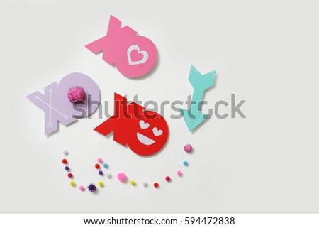 Decorative Handmade Xoxo Lettering Valentines Concept Stock Photo
