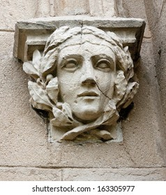 Decorative head - decoration at the entrance to the stables at the palace in  Pszczyna (Silesia, Pszczyna)