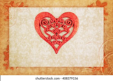 Decorative heart on vintage background