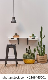 decorative home and room style white wall shelf and black lamp. metal pub chair and cactus flower decoration.
