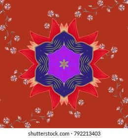 Decorative Indian Round Mandala on orange, violet and red colors. Vintage pattern. Christmas Card Mandala Design. Islam, Arabic, Indian, Turkish, Pakistan. Invitation Card, Scrapbooking.
