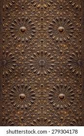 Decorative Islamic Wood Art Door Background