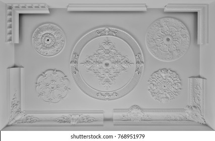 Decorative item ceiling socket made of white plaster. Relief stucco interior