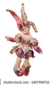 decorative jester doll isolated on white background