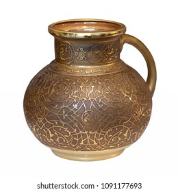 Decorative jug, oriental souvenir isolated on the white background