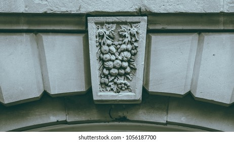 Decorative Keystone Architecture Details H, shallow depth of field black and white split toning horizontal photography