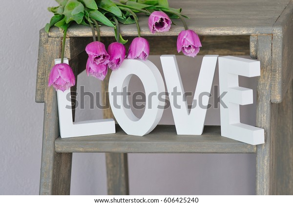 Decorative Ladder White Wooden Love Letters Stock Photo Edit Now