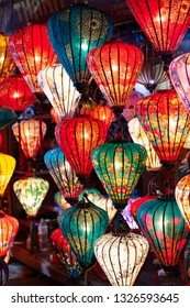Decorative lanterns and light in the Night Market of Hoi An, Vietnam