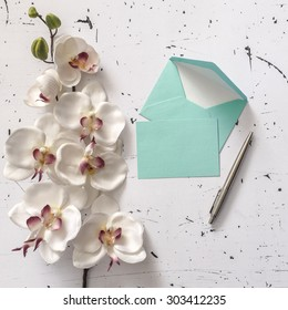 Decorative letter envelopes with orchid