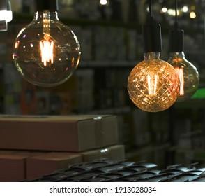 Decorative light bulb above the desk
