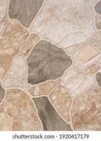 Decorative light masonry stonework wall texture, background of different sizes stones