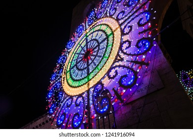 decorative light of a village festival in the south of italy