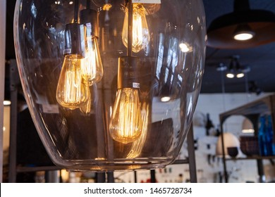 Decorative lightbulbs hanging in shop. A closeup view of illuminated decorative light bulbs hanging from a ceiling in an eco-friendly homeware store, with copy space to the right.