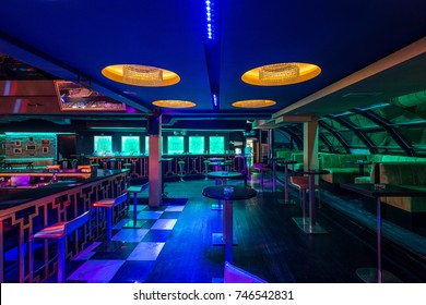 Decorative lightening ceiling in discotheque interior