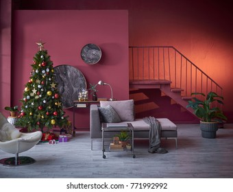 Decorative living room interior concept white chair and modern grey sofa with blanket prepared for Christmas concept modern room