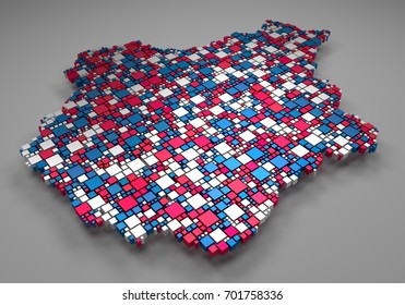 Decorative map of the Centre region of France   3d mosaic of little boxes