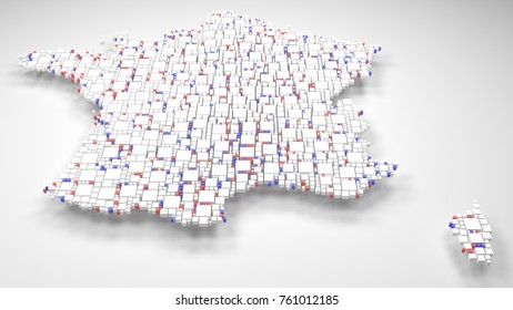 Decorative Map of France - Europe   3D mosaic of little bricks - Flag colors