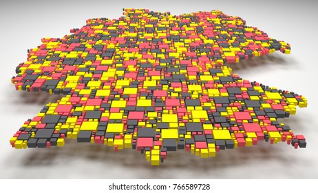 Decorative Map of Germany - Europe   3D Rendering: mosaic of little bricks - Flag colors