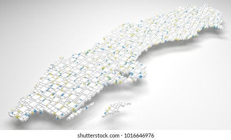 Decorative map of Sweden - Europe   3d Rendering, fall down of little bricks - White and Flag colors
