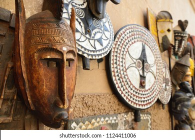 Decorative mask on the souk (market) in the old town, Medina in Morocco. Traditional mask