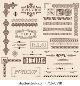 Decorative menu and invitation border elements