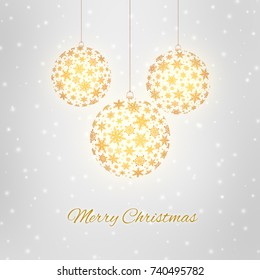 Decorative Merry Christmas greeting card with Christmas balls and snowflakes