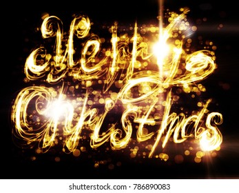Decorative merry Christmas greetings, bright light painted abstraction.