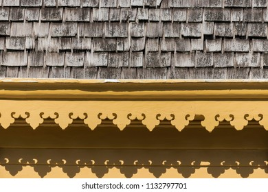 Decorative Millwork Scrolled Wood Trim on an Old Historical Building