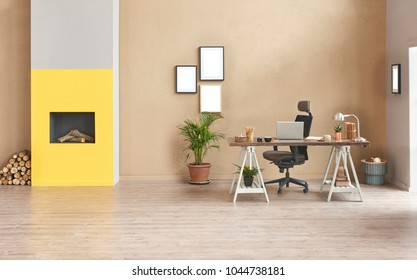 Decorative modern freelance home office style. Brown detail wall and grey sofa decoration with wood table and black chair laptop decor.