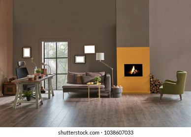 Decorative modern home office interior. Brown and yellow stone wall detail with fireplace.  Wooden working table and grey sofa with green armchair furniture. new style home office planning.