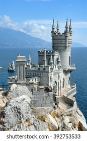 """The decorative Neo-Gothic castle """"Swallow's Nest"""" (Russian: Lastochkino Gnezdo) is the symbol of the south coast of Crimea located between Yalta and Alupka. ?onstructed in 1911-1912. Russia"""