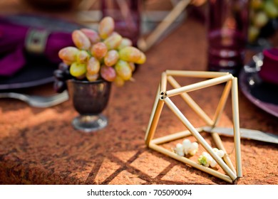 The decorative octahedron is used in table layout. A geometrical figure in a decor