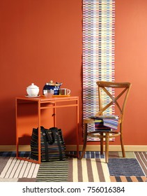 decorative orange room style with home accessory colorful room and dinning room style