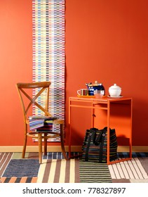 decorative orange wall and orange background style with home ornament dining concept