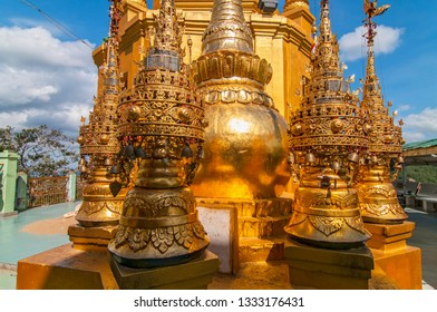 Decorative ornament Popa Taungkalat monastery atop an outcrop of Mount Popa volcano, Myanmar.