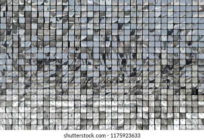 Decorative ornament wall of shiny mirror silver squares