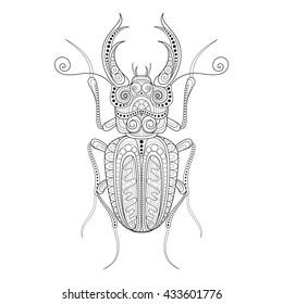 Decorative Ornate Beetle, Lucanus Cervus. Monochrome Illustration of Exotic Insect. Patterned Design Element