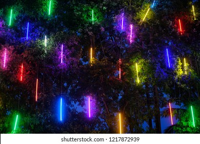 Decorative outdoor string lights hanging on tree in the garden at night time,  outdoor exterior design of colorful light illumination in garden, Lamps at night,To be open in the evening.