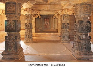 Decorative pillars from black basalt in mandappa or Hall. Hazara Rama Temple Hampi, Karnataka. Stone carving ancient.