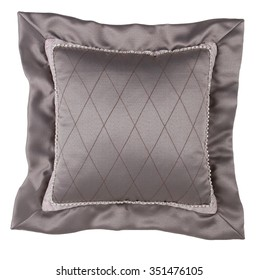 Decorative Pillow in victorian style isolated on white background, Luxury pillow.