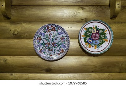 Decorative plates hang on the wall