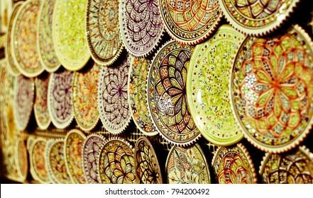 Decorative plates in oriental markets